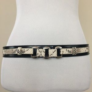 WHBM Black Patent & Cream Snakeskin Snap Belt L